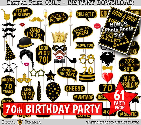 70th Birthday Party Printable Photo Booth Props. Black and