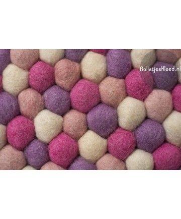 Bolletje-vloerkleed Baby-Pink roze paars zacht voet