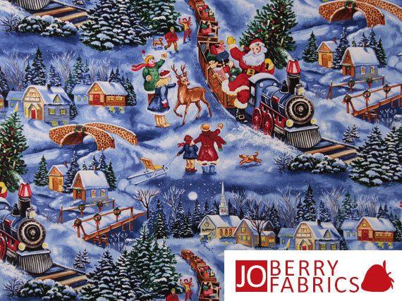 Quilt di Natale gioia o tessuto artigianale da Blank trapuntatura, treno Santa, dal cantiere