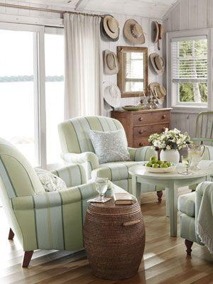 Pretty nook!Decor, Sarah Richardson, Ideas, Livingroom, Straws Hats, Sitting Area, Living Room, Cottages, Sitting Room