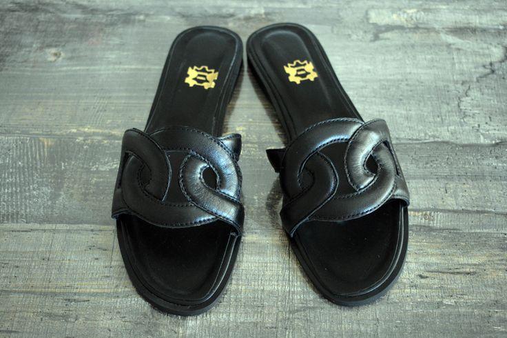 Black Hermes Leather Sandals, Black Slip-on Sandals, Black Leather Slides, Greek Leather Sandals ''Omnia''