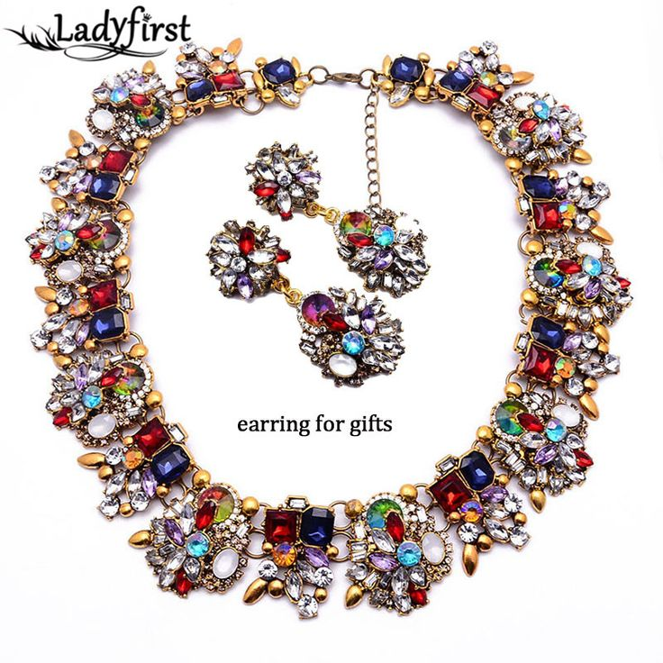 Luxury Gem Crystal Fashion Luxury Gem Statement Crystal Pendant Big Brand Metal Women Collar Necklace B131