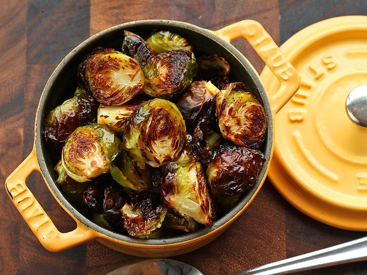 Easy Roasted Brussels Sprouts | Serious Eats : Recipes- I added precooked beets and cut up butternut squash to the mix and turned out great.