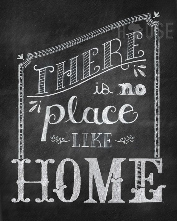 Chalkboard art Print - There is No Place Like Home 8x10 via Etsy