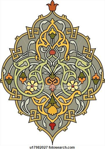 Clip Art of Green, yellow, red, gold and grey Arabesque Design u17982027 - Search Clipart, Illustration Posters, Drawings, and EPS Vector Gr...