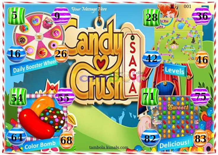 Candy Crush Anywhere  in 9x4 format :Templates Tickets   Tambola Housie