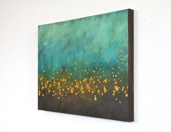 teal blue turquoise aqua brown mustard yellow modern by StudioZen