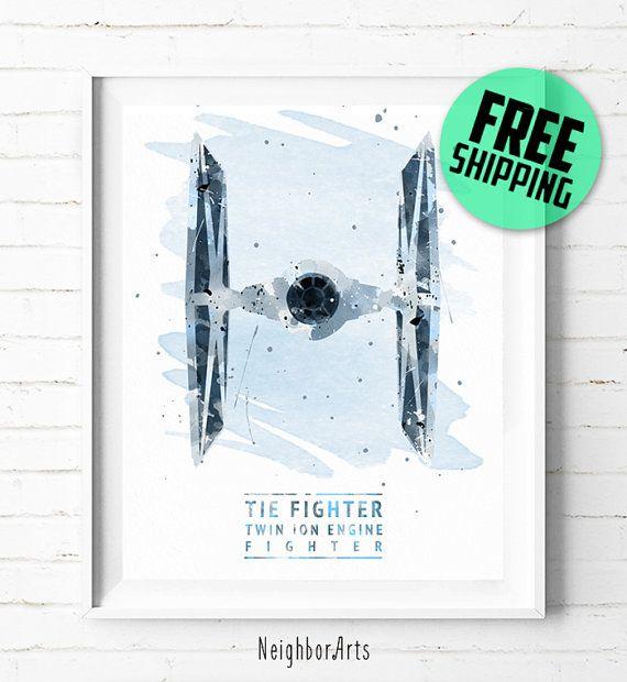 Star Wars TIE Fighter Print, Star Wars Poster, Tie Fighter Poster, Star Wars