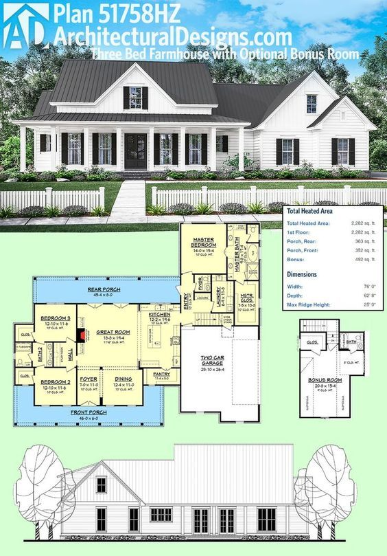 Architectural Designs Plan 51758HZ is a 3 bed farmhouse with an optional bonus room over the garage. Ready when you are. Where do YOU want to build? – Bri Colford
