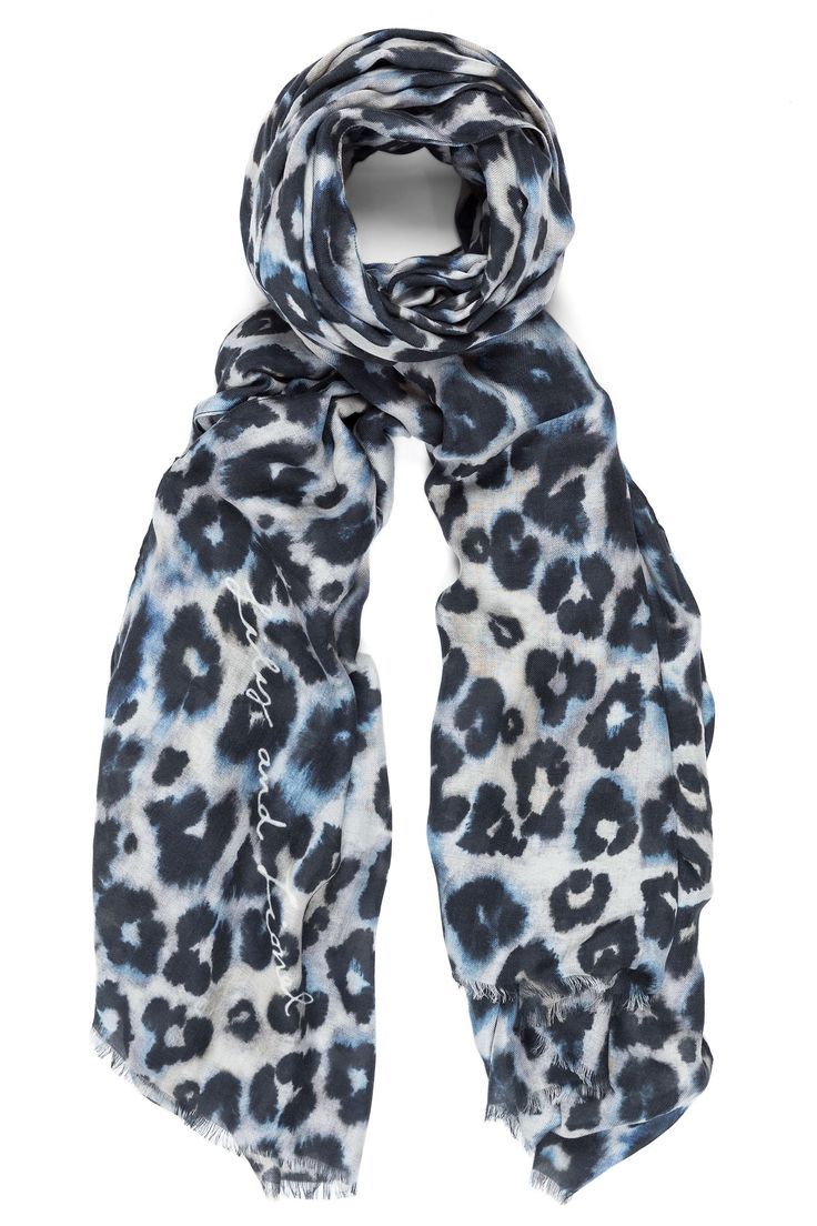 Modal-silk scarf with handpainted leo print. Available online: http://www.sofinah.fi/product/641/scarf-isla-putty-blue