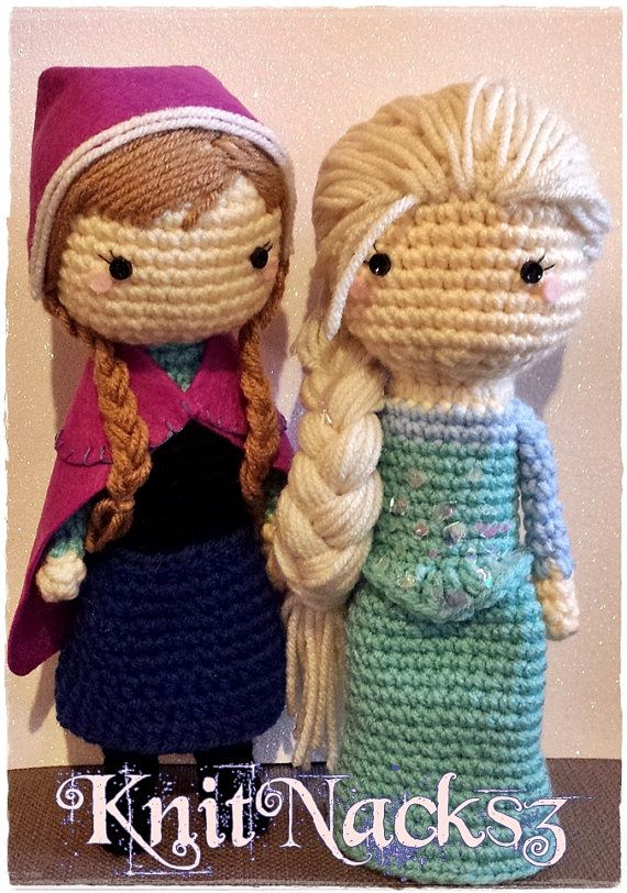 Princess Crochet Doll Plush Crochet Dolls, Elsa and Anna