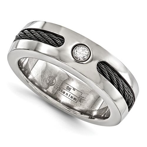 Mens Diamond Titanium Wedding Ring With Black Cable Inlay