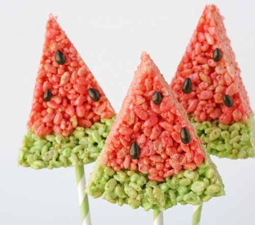 watermelon rice crispy treats