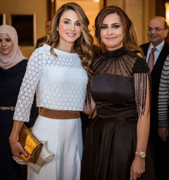 Queen Rania attend a gala benefit dinner hosted by Jordan River Foundation