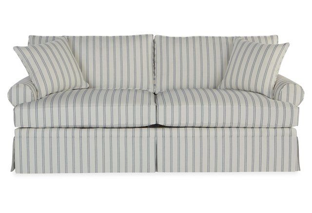 "Maya 82"" Sleeper Sofa, Stripe Sunbrella"