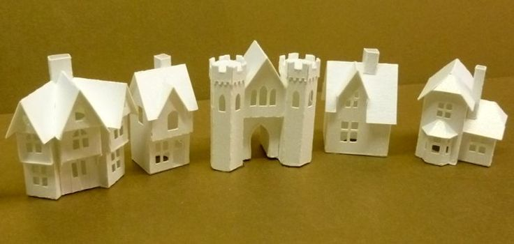 Karin Corbin Miniatures  Tiny Miniature Paper Houses ready to be glittered