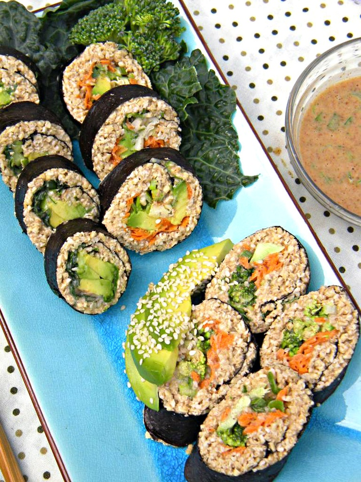 ADDICTED to VEGGIES: Riceless Sushi with Spicy Almond Satay Sauce