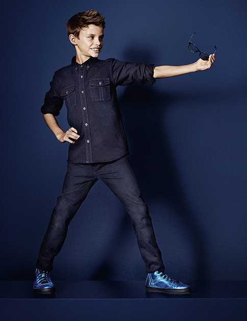 Romeo Beckham starring opposite Cara Delevingne and Edie Campbell in the latest Burberry S/S13 campaign