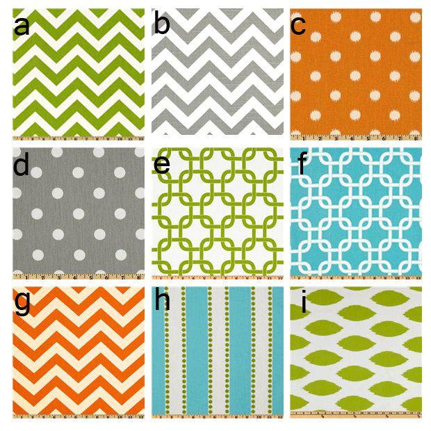 Custom crib bedding - Aqua, Orange, Grey and Green. via Etsy.