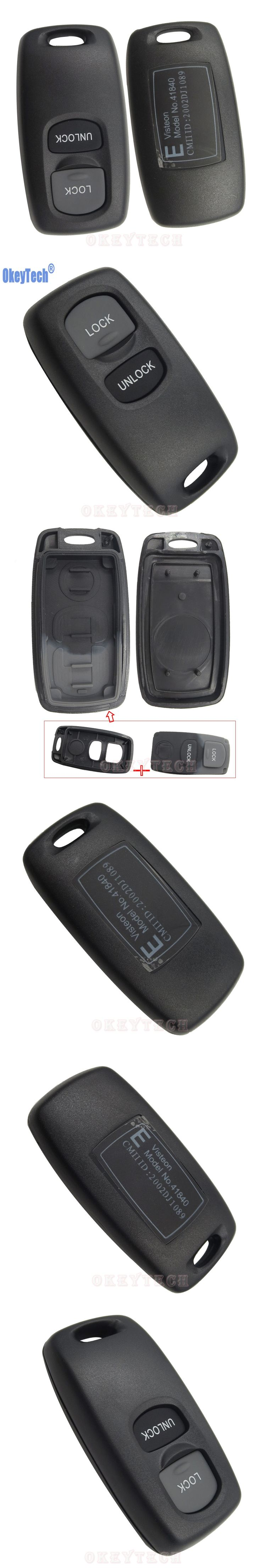 OkeyTech 2 Buttons Remote Control Car Key Case Shell For Mazda 2 3 6 323 626 Blank Replacement Keyless Entry Fob Cover No Chip
