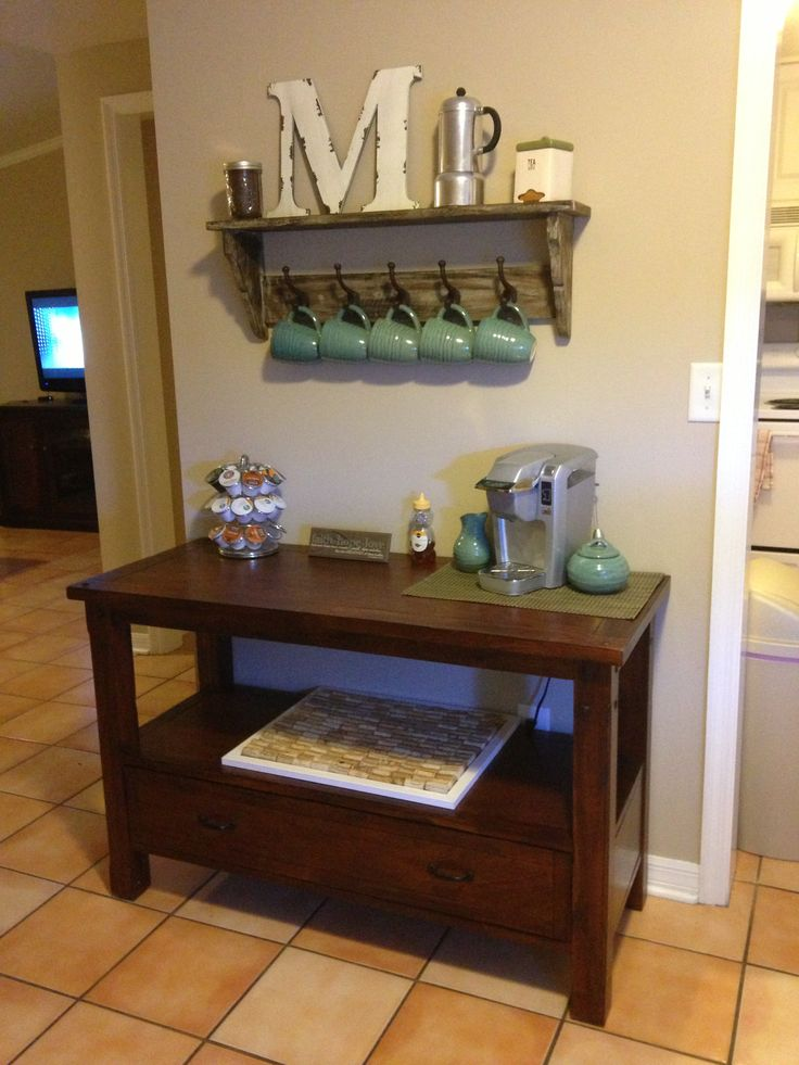 Coffee station... I LOVE this! for the wall beside the pantry!