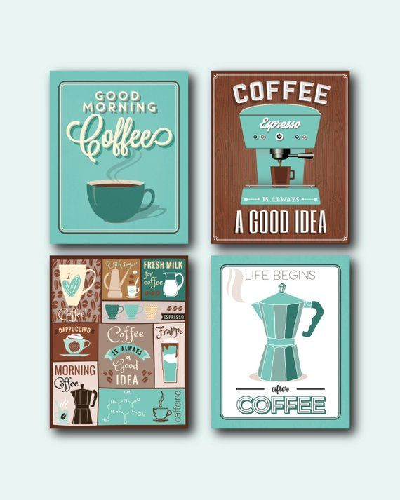 Coffee Prints Set Coffee Wall Art Coffee Decor Coffee Etsy In 2021 Coffee Wall Art Coffee Print Wall Art Sets