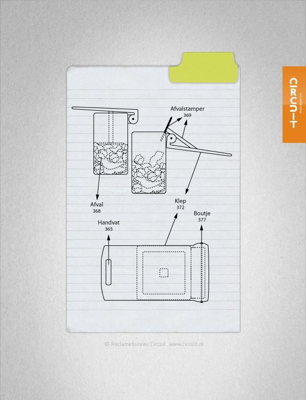 Een prullenbak zit eigenlijk altijd al snel vol terwijl er nog zoveel ruimte onbenut is. Je zou het afval handmatig kunnen aandrukken om zo meer ruimte te creëren, maar zou het niet handiger zijn als de prullenbak hier een oplossing voor zou bieden? Door middel van een klep aan de buitenkant van de prullenbak kan het afval simpelweg naar beneden gedrukt worden zonder dat je met je handen in de prullenbak hoeft.