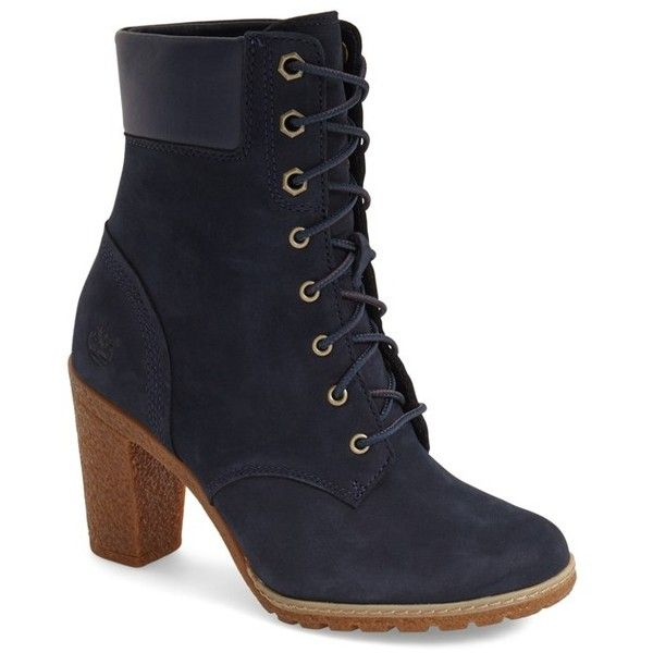 """Timberland Earthkeepers 'Glancy' Boot, 3 1/4"""" heel ($130) ❤ liked on Polyvore featuring shoes, boots, ankle booties, ankle boots, navy nubuck leather, navy ankle boots, high heel boots, lace up ankle boots, faux suede lace-up booties и navy blue boots"""