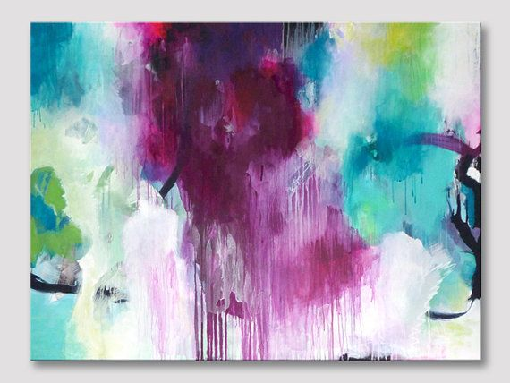 Original XXL extra large abstract painting, abstract art, modern fine art painting, pink bordeaux turquoise, large colorful canvas painting