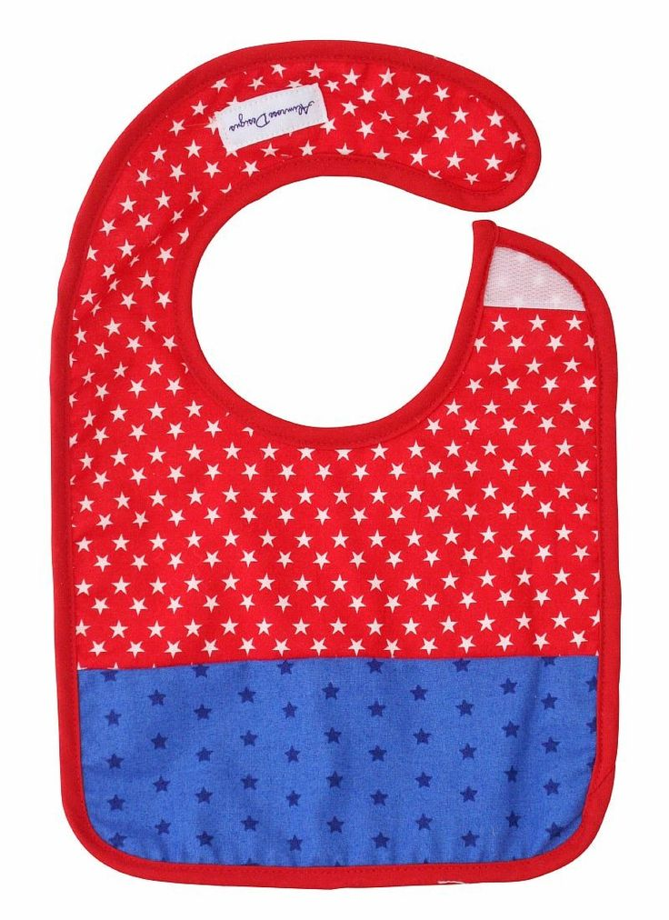 Alimrose Bib Red Stars & Blue - A bright and gorgeous bib perfect for all little boys.