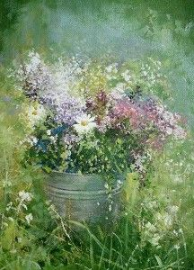 Purple Flowers & Daisies Amanda Hoskin Art