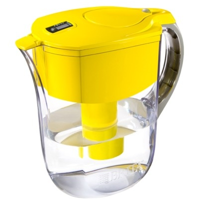 Brighten up your fridge with this brita water filter in yellow. I want it!