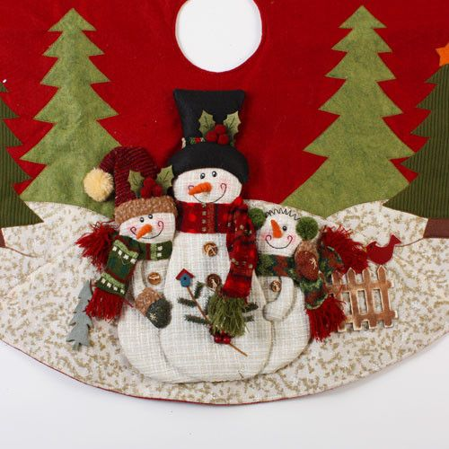 "Christmas Snowman | Tree Skirts - 42"" Country Snowman Applique Christmas Tree Skirt"