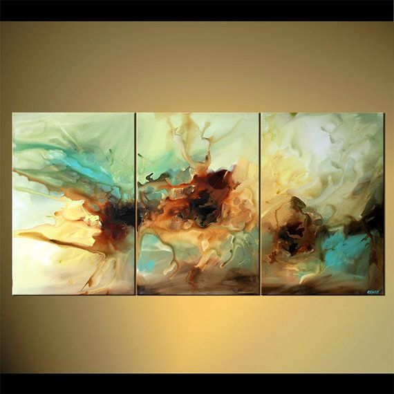 Large Abstract Painting Original Triptych Wall by OsnatFineArt, $699.00