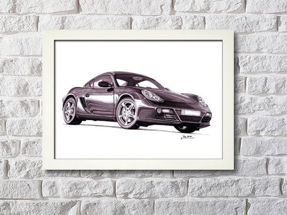 Porsche Cayman framed artwork digital picture by NewHomeDecor
