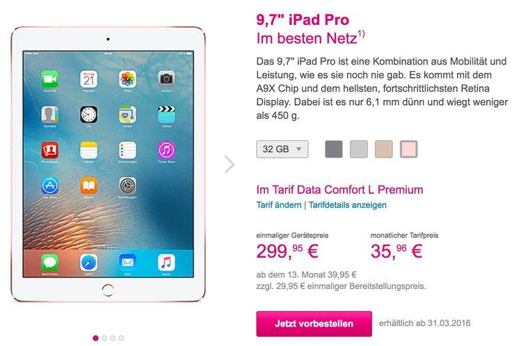 iPad Pro mit Vertrag kaufen: Telekom Datentarif mit iPad Pro 9.7 vorbestellen - https://apfeleimer.de/2016/03/ipad-pro-mit-vertrag?utm_source=PN&utm_medium=PINIT&utm_campaign=iPad+Pro+mit+Vertrag+kaufen%3A+Telekom+Datentarif+mit+iPad+Pro+9.7+vorbestellen - iPad Pro mit Vertrag: Bestellung bei Telekom und Vodafone möglich! Nicht nur das iPhone SE mit Vertrag kann bei Telekom, O2 und Vodafone bestellt werden – auch das neue iPad Pro 9.7 ist sowohl ohne Vertrag im Apple S