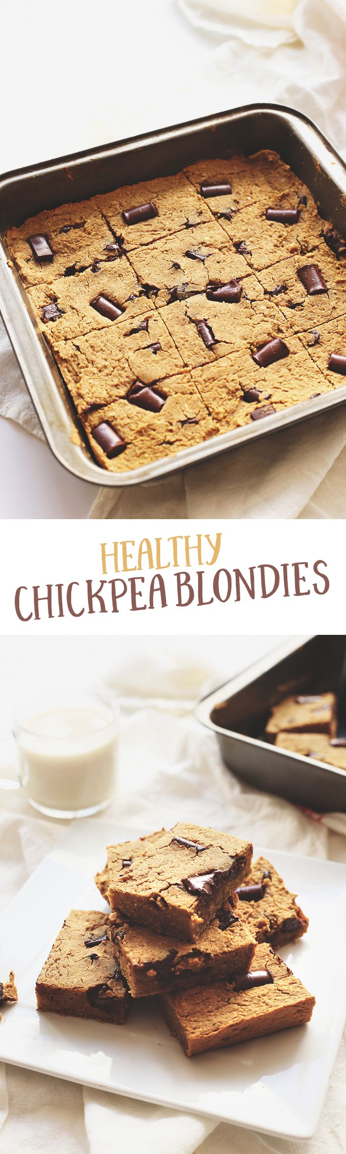 Healthy Chickpea Blondies made from everybodys favourite bean! Theyre gluten-free, high in protein and sweetened with maple syrup. No one will guess that theyre made from chickpeas! These are the perfect chickpea dessert for a healthy dessert alternative. Plus theyre gluten-free too!