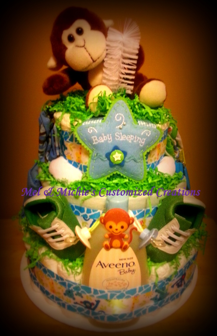 Baby Boy Diaper cakes over 90 diapers and 18 baby items...sold