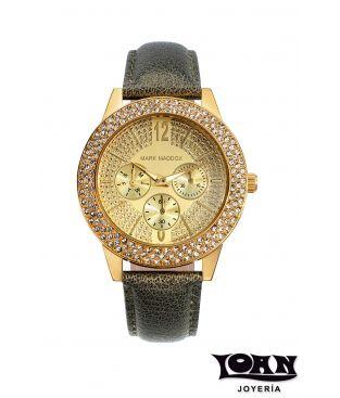 Reloj Mark Maddox Señora en Verde Metálico y Esfera Dorada con Circonitas. #reloj #relojes #markmaddox #mujer #verde #dorado #criconitas