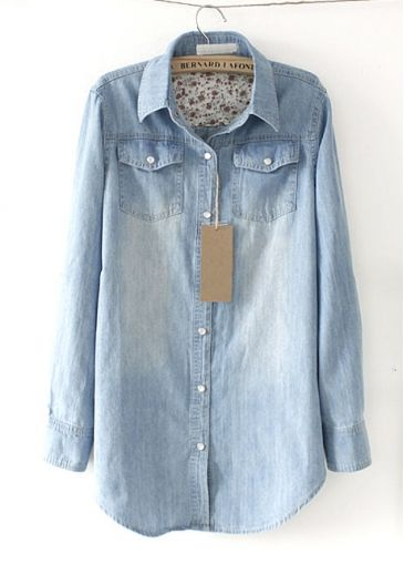 Light Blue Button Closure Long Sleeve Denim Blouse. Want this so bad!