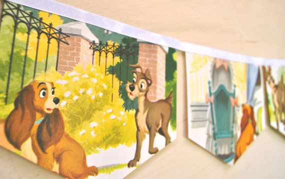 LADY and THE TRAMP Vintage Little Golden Book Bunting Children Paper Party Decoration nursery story book banner eco friendly re-purposed on Etsy, $23.20