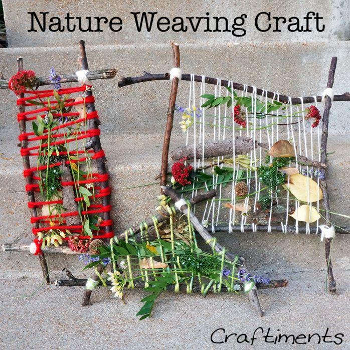 nature weaving craft leuk om met kinderen te doen.