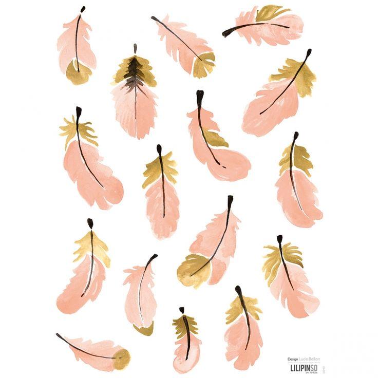 Les stickers plumes roses Flamingo by Lucie Bellion pour Lilipinso aux tonalités de rose et de doré apportent un décor chic à la chambre d'une petite fille.