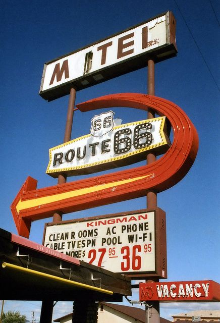 Arizona - Route 66 Motel (Hey! I've seen this one in person! :D I think they must've restored the sign since this photo was taken though :3 )