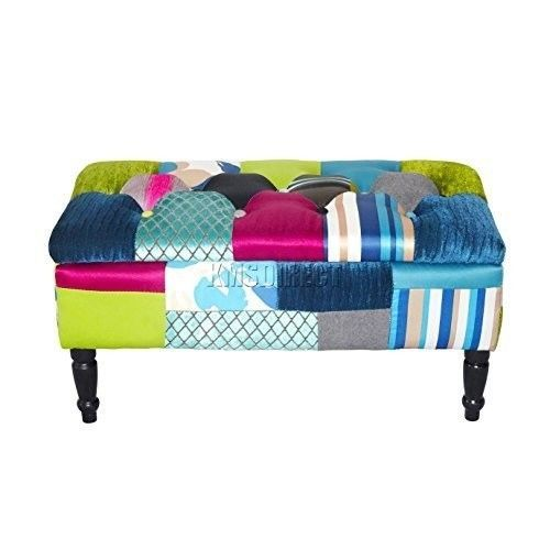 Bedroom Bench Seat Storage Vintage Patchwork Hallway Upholstered Ottoman Stool