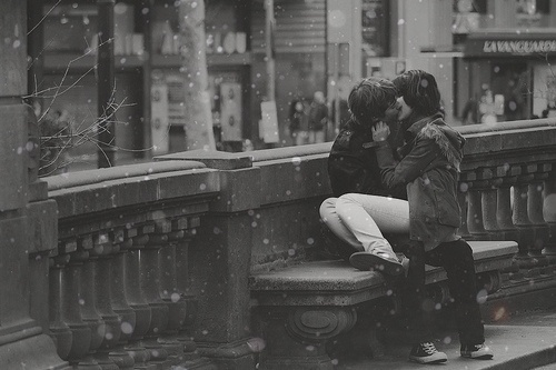 Sneaking in a kiss in the snow...