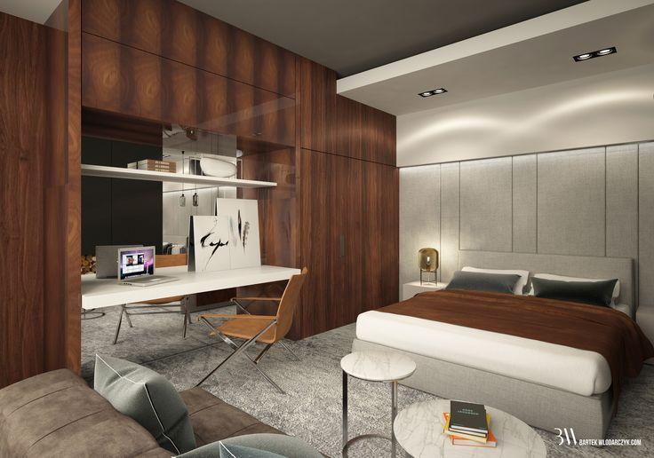Projekt sypialni z zabudową z orzecha włoskiego wykończoną politurą, fotelem Beverly '14 firmy B&B Italia, lampą Fork firmy Diesel oraz lampą Oda Small firmy Pulpo