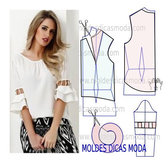 Analise com a devida atenção a transformação do molde de blusa decote franzido. Para fazer este modelo imprima o molde base de blusa e faça a gradação para