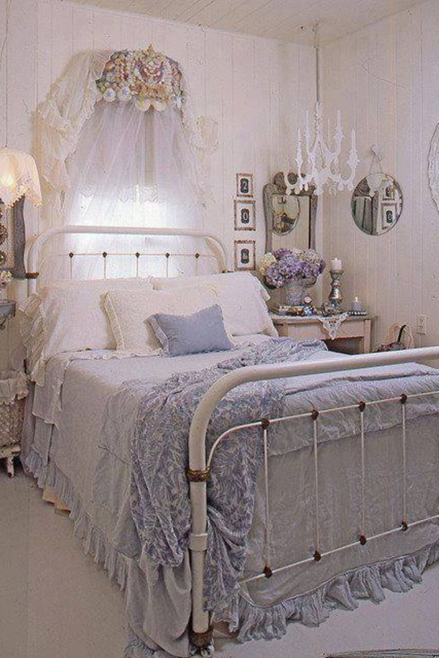 I Love This Beautiful Shabby Chic Bedroom.Especially The Iron Bed. I  Personally Find The Various Shades Of Blues And Purples So Comforting And  Easy To Live ...