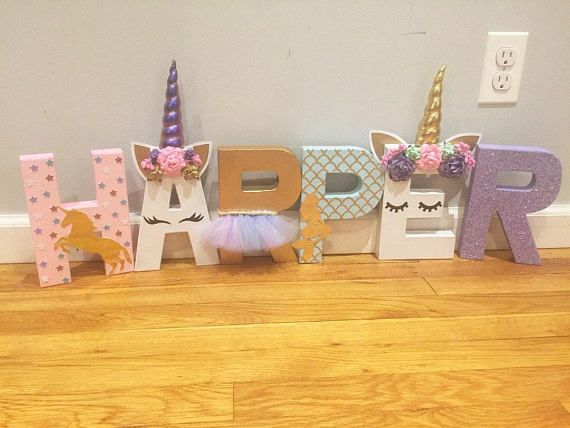 PLEASE READ DESCRIPTION BEFORE PLACING ORDER. Please be sure to let me know in the note to seller box at check out, Name, Date of event Mermaid meets Unicorn or just Unicorn The colors needed. 3 unicorn letters - Unicorn - Gold Unicorn silhouette & glitter stars - glittered letter/